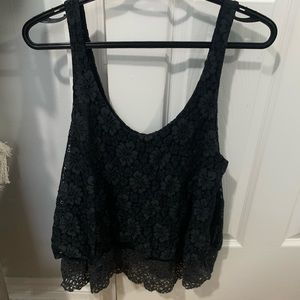 Cropped tank with lace overlay